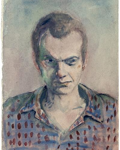 Ivo Lenščak, Avtoportret, akvarel, papir, zasebna last