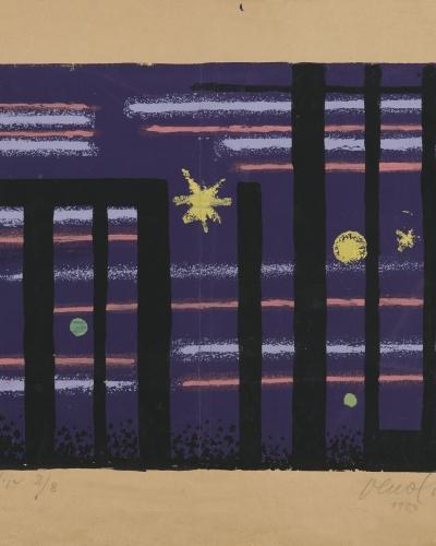 Veno Pilon, Nocturno, 1954, sitotisk, papir, Pilonova galerija Ajdovščina