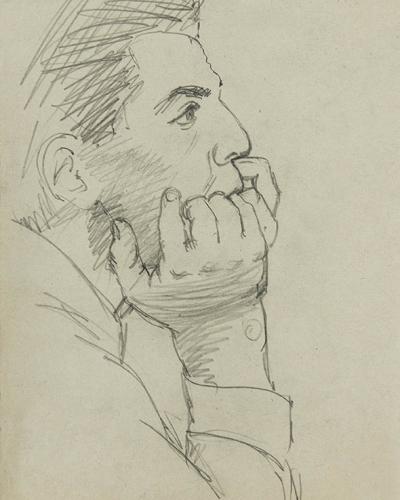 Ivo Lenščak, Moški z obrazom naslonjen na dlaneh, čas študija (1954–57), grafit, papir, zasebna last